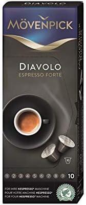 MOVENPICK Espresso Forte DIAVOLO coffee capsules compatible with Nespresso machines 10 espresso capsules