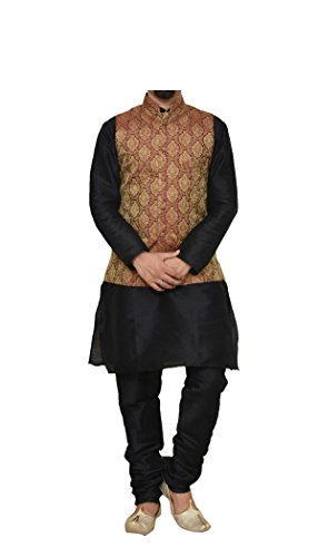 MAG Men's Silk Kurta(RG-10387 Black Matching silk Kurta Churidhar With Maroon Waistcoat...