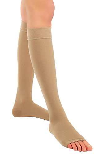 ®BeFit24 abgestufte medizinische Kompressionsstrümpfe (23-32 mmHg, 120 Den, Klasse 2) mit offener Spitze für Damen und Herren – nahtlose Stützstrümpfe hervorragend geeignet bei Krampfadern, gegen Reisethrombosen, Ödeme und Flüssigkeitseinlagerungen in Bein und Fuß - [ Größe 2 - Lang: A - Beige ] (Sheer Cap Grün)