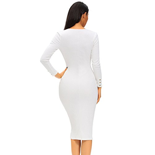 PU&PU Femmes Occasionnels / Sorties Button up Ribbed Robe Cardigan Midi, V Neck Long Sleeve white