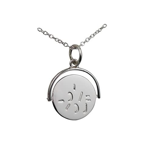 Silver 15x16mm round I Love You spinning disc Pendant with a rolo Chain 14 inches Only Suitable for