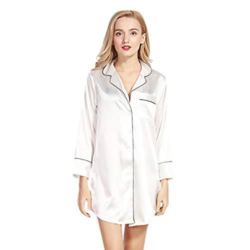 Setsail Damen Satin Pyjama drucken Nachthemd Kurzarm Nachthemd Retro Silk Nachthemd Seidenpyjama Sexy Negligee Satin Nachtkleid Nachtwäsche Sleepwear V-Ausschnitt Onesies