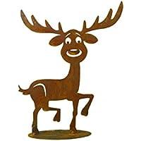 Metallmichl Edelrost Rentier -Rupert- 30 cm hoch Tierfigur aus rost Metall/Deko-Figur für innen und außen