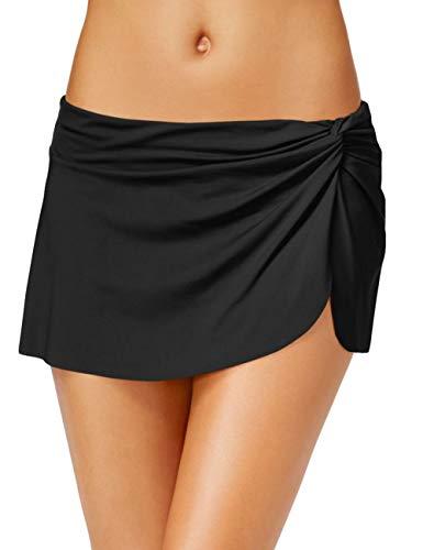 EUYOUZI Womens Shirred Skirted Bikini Bottom Tassels Swim Skirt (Y-Black) -