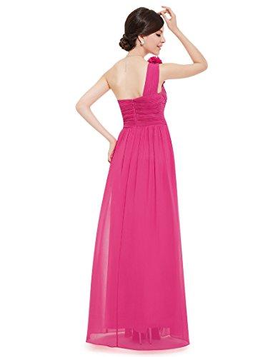 Ever Pretty Damen One Shoulder Blumen Lang Chiffonkleid Abendkleider 08237 Hellrosa