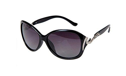 Gespout occhiali da sole da donna alla moda occhiali da sole polarizzati bicolore telaio grande modello del diamante occhiali di protezione uv occhiali da sole da spiaggia,nero