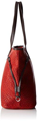 Chicca Borse Damen 80061 Schultertasche, 46x30x17 cm Rot (Rosso)