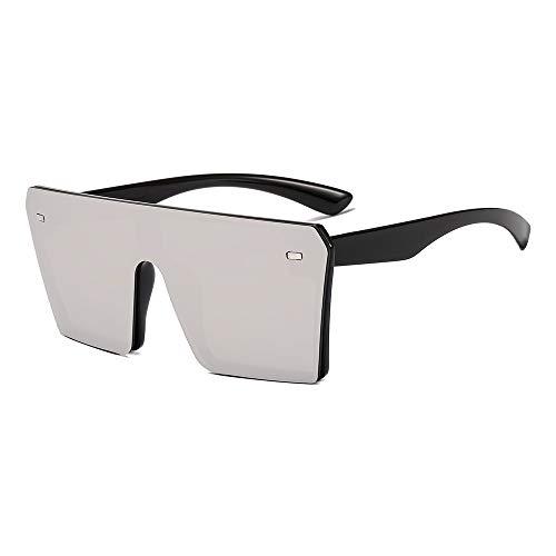 YKDDGG Mode-Accessoires Sonnenbrillen Oversize Square Sonnenbrillen Damenmode Flat Top Gradient Brillen Herren4-Schwarz-Weiß