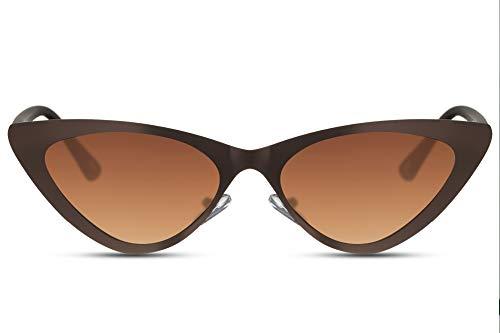 Cheapass Sunglasses Sonnenbrille Metall Cat Eye Sonnenbrillen Matt Braun mit braunen Gläsern Fashion Design Schattierungen UV400 geschützt Frauen