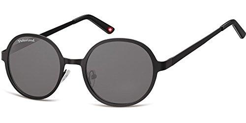 Moderne Sonnenbrille für Damen und Herren – Polarisierte Gläser mit UV400-Schutz – Inklusive Brillenetui und Mikrofasertuch Modell: MP87 (Schwarz) (Design Safilo)
