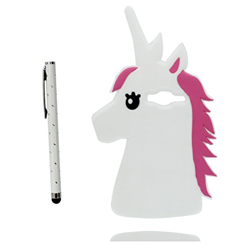 Custodia Samsung Galaxy J3, Copertura per Samsung Galaxy J3 2016, Samsung Galaxy J3 2015 Case Cover, TPU durevole flessibile 3D unicorno unicorn, slittamento di polvere resistente e penna di tocco