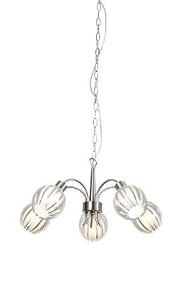Trio-Leuchten Krone in nickel matt, Acryl klar, Innenglas weiß matt,exklusiv 5x E14 max. 40W, Durchm.: 56 cm, Höhe: max. 150 cm 104600507 von Trio Leuchten auf Lampenhans.de