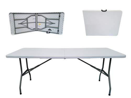 6' Esstisch (Folding Tables UK Leichtgewichtiger Klapptisch rechteckig aus Kunststoff mit Stahlbeinen 180 cm hellgrau-weiße Tischplatte)