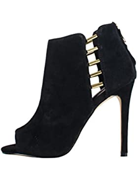 Steve Madden Lola Black Suede Shoes - Sandali Neri Camoscio Dettagli Oro