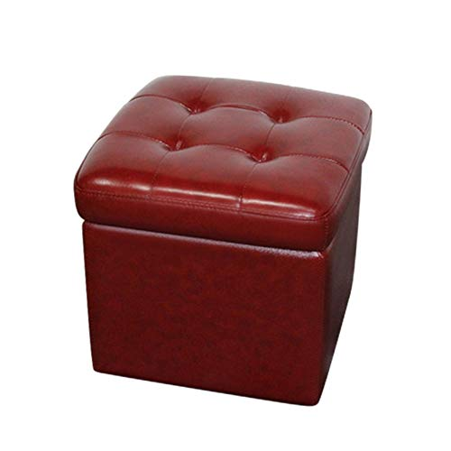 Love House Sitzhocker mit stauraum Sitzwürfel, Getuftet Leder Ottomane Polstermöbel Quadratische Flip top Aufbewahrung Fußhocker Weichen Sitz für Wohnzimmer-rot -