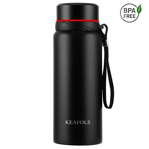 KEAFOLS Trinkflasche 750 ml Thermosflasche Essential Vakuum Wasserflasche Flachmänner aus Edelstahl, Premium Isolierflasche doppelwandig für Laufen, Fitness, Büro, Im Freien und Reise MEHRWEG