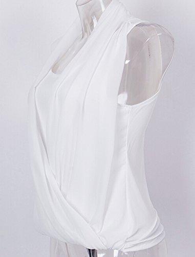 Faithtur Frauen mit V-Ausschnitt ärmellos Kreuz vorne Chiffon Tank Top White
