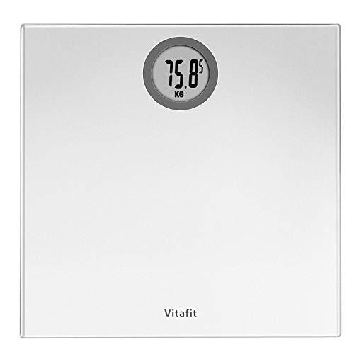 Vitafit Pèse-personne Électronique,Pese Personnes Balance Numériques avec technologie Step-On,180kg/400lb/28st, Affichage LCD, Argent Eléga