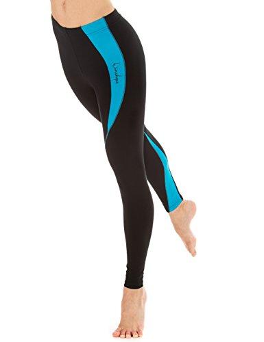Winshape Fitness Tiempo Libre Deporte Deporte para Mujer de Manga Larga  para Mujer Leggings de Rayas Negro Schwarz Tuerkis Talla 5294c15db4b79