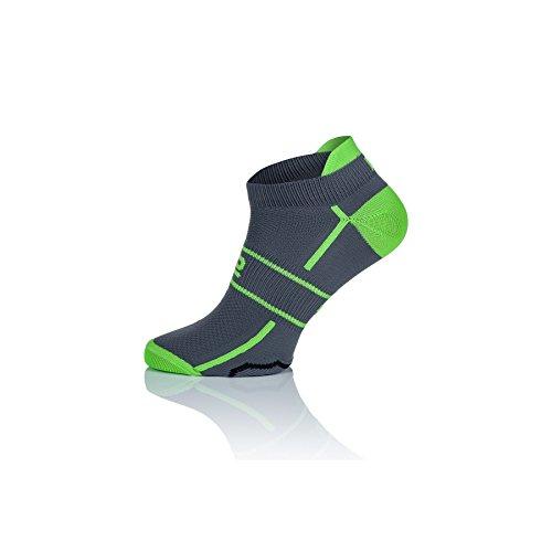 Prosske LF-1 Füßlinge Sportsocken Laufsocken Radsocken Atmungsaktiv Damen Herren Kinder viele Farben - grau-grün, 41-43