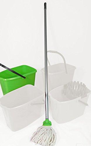 2 Stück Wischmopset 10 Liter Eimer 110 cm Kinder Mop Putz Set Bodenwischer - GRÜN