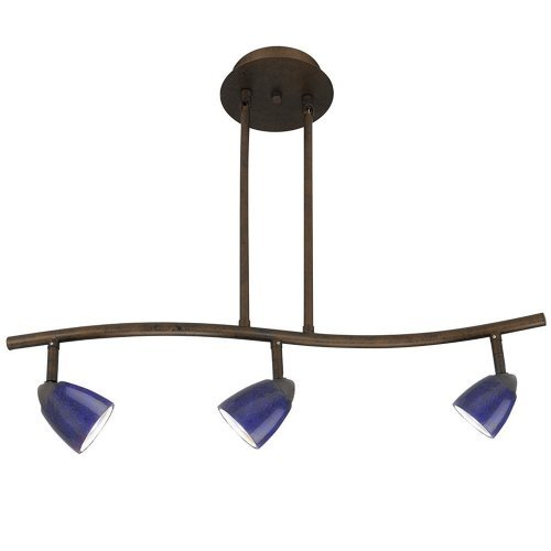 Cal Lighting SL-954-3-RU/BL Track Lighting with Blue Glass Shades, Rust Finish by Cal