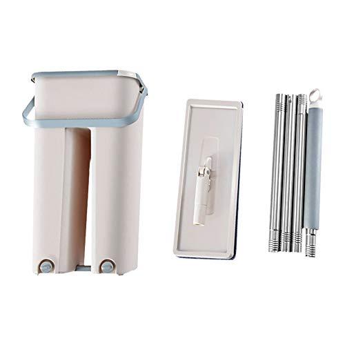Percetey Mopp-Eimersystem für die Bodenreinigung 2 in 1 Wash Dry mit abwaschbaren Flachfaser-Mop-Pads, Mit ausziehbarem Griff, Freihand-Quetschen, flexiblem 360-Grad-Schwenkkopf, Edelstahl-Mopp, Griff