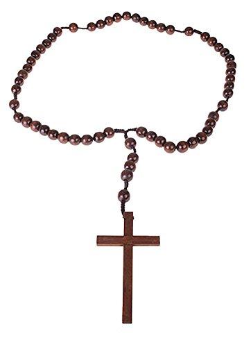 m Kette - Kreuz aus Holz - 107cm, Braun (Jesus Und Maria Halloween Kostüme)