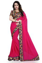 Onlinehub Georgette Saree With Blouse Piece(Onlinhubpinkpeacockwithhandwork(Sg)_Pink Free Size)