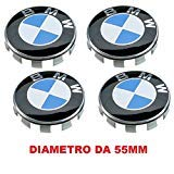 4Hubcaps Compatible for BMW Caps 55mm 1234567m Series Z X Circles Studs Alloy
