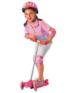 Patinete plegable inclinable y giratorio, color rosa.