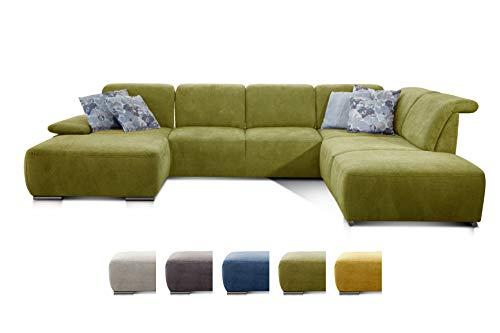 CAVADORE Wohnlandschaft Tabagos / U-Form mit Ottomane rechts / XXL Sofa mit Sitztiefenverstellung / Inkl. Kopf- und Armteilverstellung / 364 x 85 x 248 / Grün