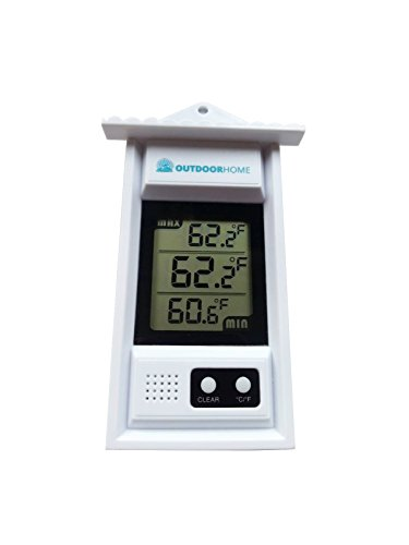 OutdoorHome Digital MIN/MAX Thermometer. Use In Garden, Patio or Greenhouse. A Weather Thermometer With Current Temp & Auto Sensor For Min/Max Readings. Test