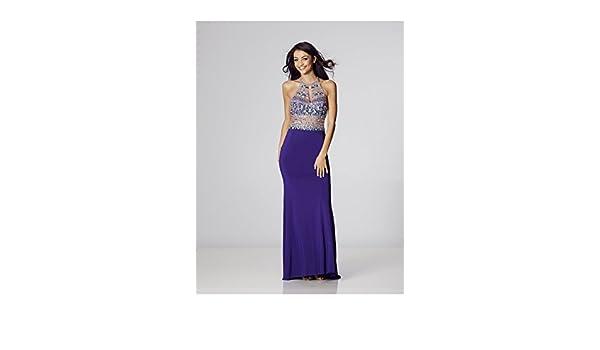 Tiffanys Illusion Prom Cadbury Avanna Beaded Halterneck Gown UK 6 (US 2): Amazon.co.uk: Clothing
