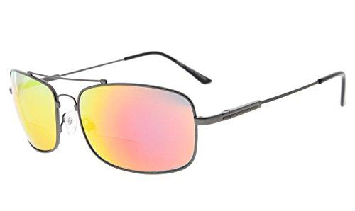 Eyekepper Bifokal Sonnenbrille mit biegsamer Brücke und Bügel Erinnerung Lesen Sonnenbrille Leicht Titan (Gunmetal Rahmen Rot Spiegel, 1.50)