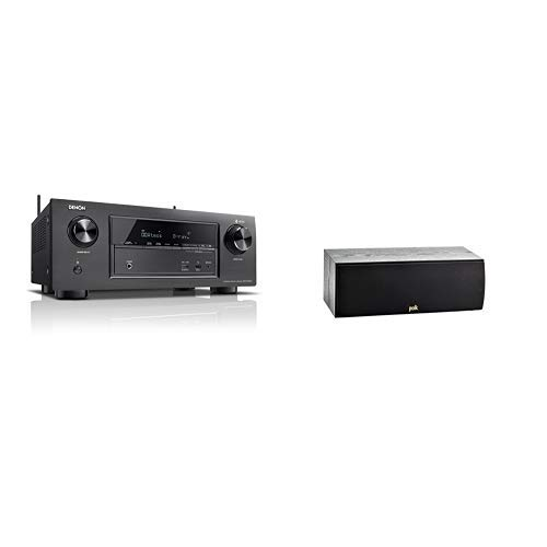 Denon AVRX2400H 7.2 Surround AV-Receiver (HEOS Integration, Dolby Vision Kompatibilität, Dolby Atmos, dtsX, WLAN, Bluetooth, 7x 150 W) schwarz & Polk Audio T30 Center-Lautsprecher, schwarz Vision Audio Bundle