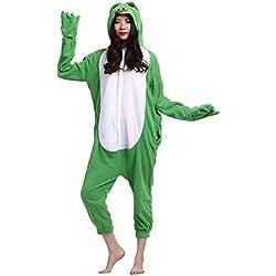 Pijama Animal Entero Unisex Kigurumi para Adultos con Capucha Cosplay Pyjamas Verde Rana Ropa de Dormir Traje de Disfraz para Festival de Carnaval Halloween Navidad