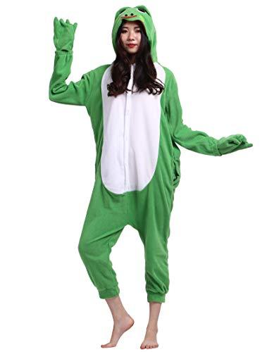 Jumpsuit Onesie Tier Karton Kigurumi Fasching Halloween Kostüm Lounge Sleepsuit Cosplay Overall Pyjama Schlafanzug Erwachsene Unisex Grün Frosch for Höhe 140-187CM
