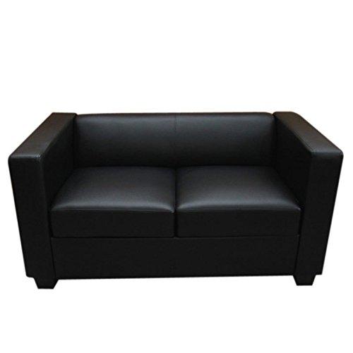 Mendler 2er Sofa Couch Loungesofa Lille ~ Leder, schwarz 2. Leder