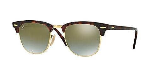 Ray-Ban Clubmaster Sonnenbrille in glänzenden roten Havanna Green Flash-Gradient RB3016 990/9J 51 51 Green Gradient Flash Mirror