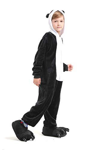 Panda Ganzkörper Tier-Kostüm für Kinder - Plüsch Einteiler Overall Jumpsuit Pyjama Schlafanzug - Schwarz/Weiß - Größe 134-140 (Hersteller Gr. 125)