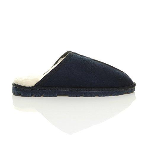 Pantofole Da Uomo Calde E Lussuose In Caldo Inverno Foderate Con Ciabattine Regalo Blu Scuro