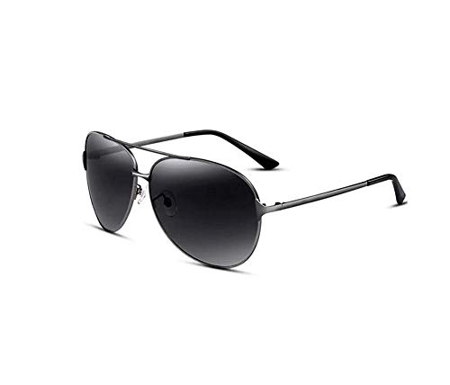 ZTMN Sonnenbrille Herrenmode Oval Frame Polarized Driving Pilot Brille (Farbe: Gun grau Rahmen schwarz grau Stück)