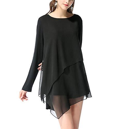 ESAILQ Damen Chiffon Langarm Unregelmäßige Bluse Shirt(L,Schwarz)