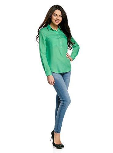 oodji Ultra Femme Chemise Ample en Coton Vert (6500N)