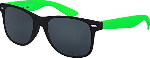 Balinco Hochwertige Nerd Sonnenbrille Rubber im Wayfarer Stil Retro Vintage Unisex Brille mit Federscharnier - 96 verschiedene Farben/Modelle wählbar (Hellgrün/Schwarz - Smoke)