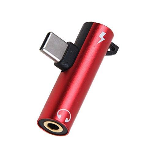 2 in 1 USB C/Typ C auf 3,5 mm Klinke Audio Adapter, Audio-Kopfhörer-Adapter, Splitter-Kabel, Mikrofon-Kopfhörerbuchse & Schnellladekonverter und andere Typ-C-Geräte (Rot) 6p-audio-kabel