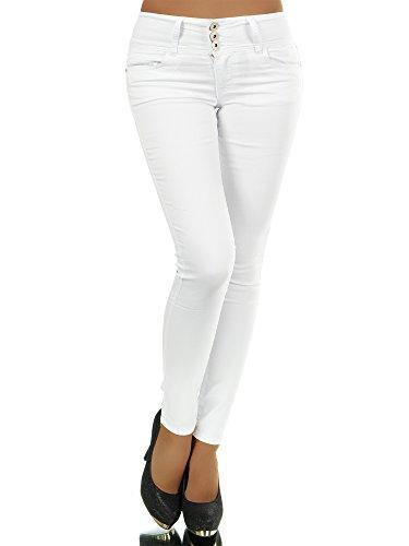 N280 Damen Jeans Hose Corsage Damenjeans High Waist Röhrenjeans Hochbund, Farben:Weiß;Größen:34 (XS) (Hose Stretch Low Rise Cord)