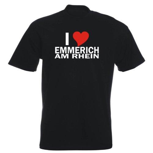 T-Shirt mit Städtenamen - i Love Emmerich am Rhein - Herren - unisex Schwarz