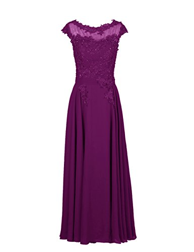 Dresstells Damen Ballkleider Abendkleid Bodenlang Chiffon DT90594 Grape